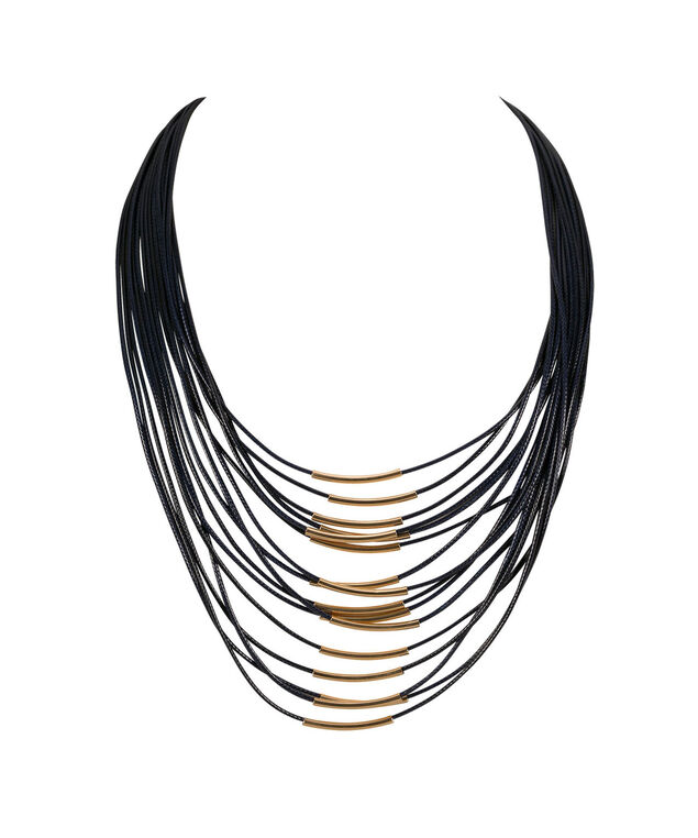 Cord & Brushed Metal Necklace, Indigo/Soft Gold, hi-res