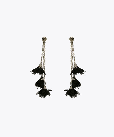 Flower Tassel Earring, Black/Rhodium, hi-res