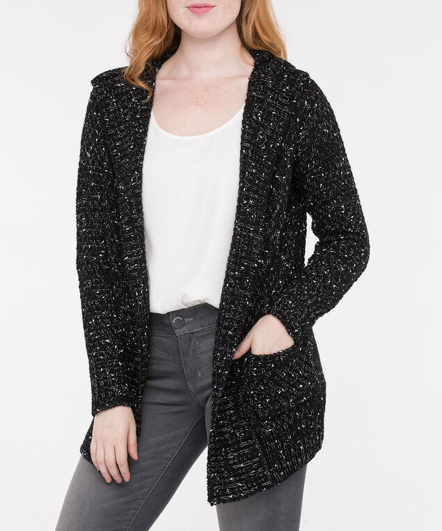 Ribbed Detail Hooded Open Cardigan, Black Mix, hi-res