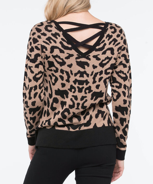 Cross Back Animal Print Sweater, Camel/Black, hi-res
