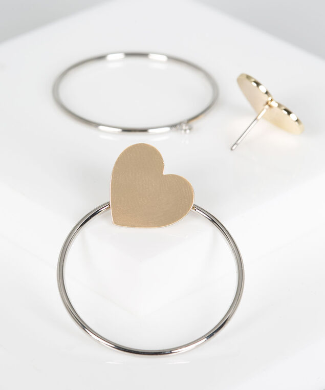 Mixed Metal Heart Hoop Earring, Rhodium/Gold, hi-res