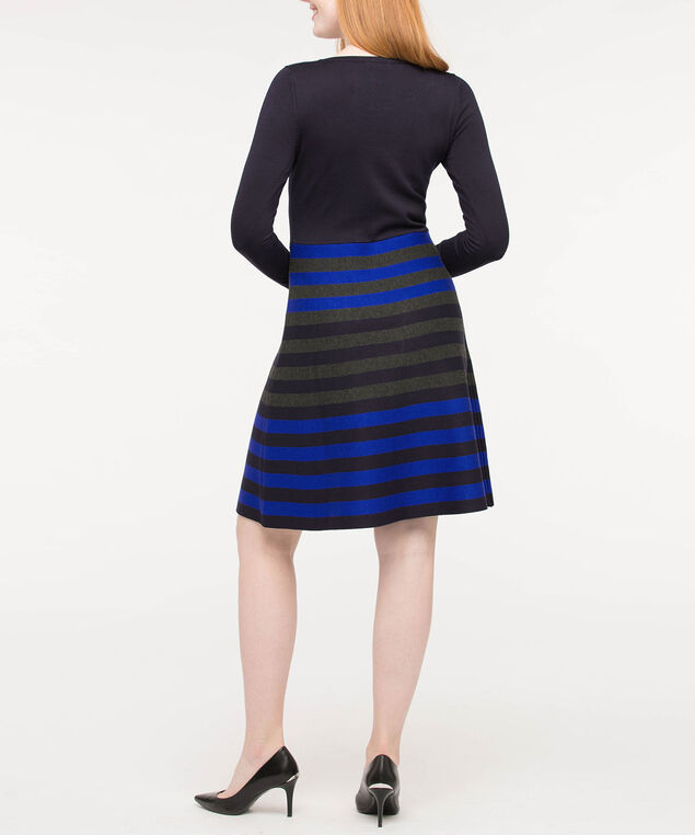 Striped Colourblock Sweater Dress, Deep Sapphire/Cobalt/Grey, hi-res