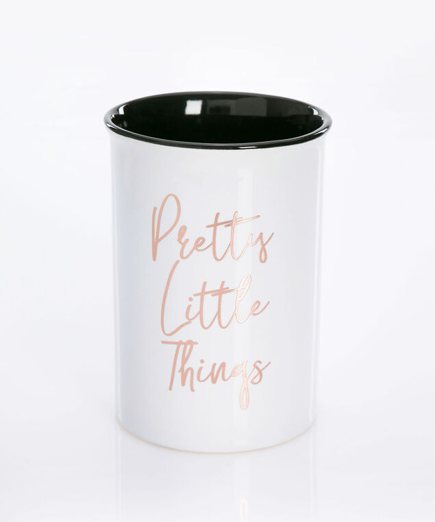 Pretty Little Things Ceramic Brush Holder, True White/Rose Gold/Black, hi-res