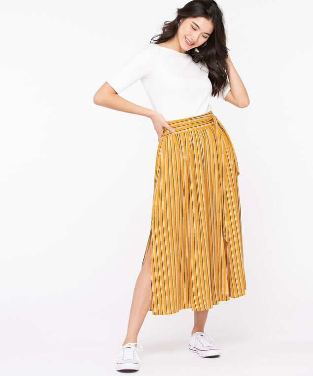 Striped Tie Front Slit Skirt, Mustard/Black/Pearl