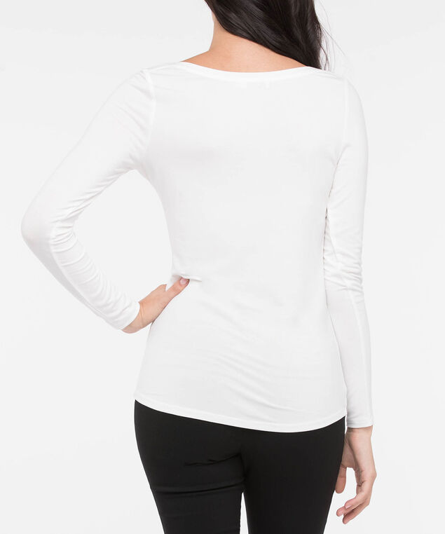 Boatneck Essential Layering Top, White, hi-res