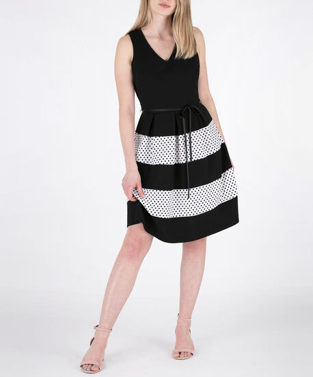 Extended Cross-Back Sleeveless Dress, Black/Pearl, hi-res