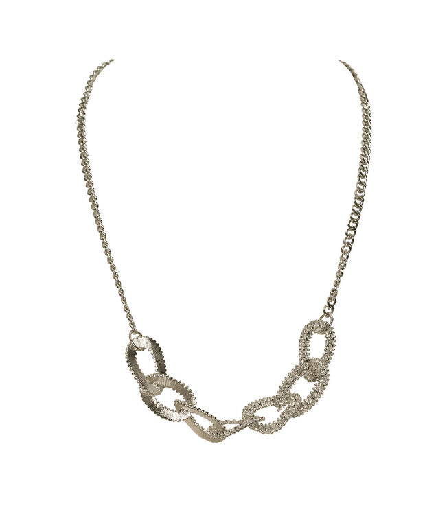 Textured Oval Link Statement Necklace, Rhodium, hi-res