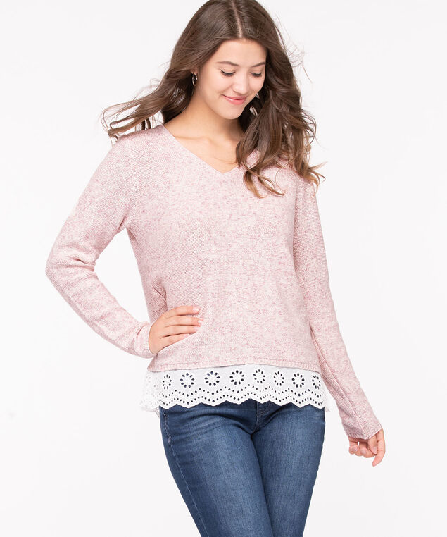 V-Neck Fooler Pullover Sweater, Soft Blush/Pearl, hi-res