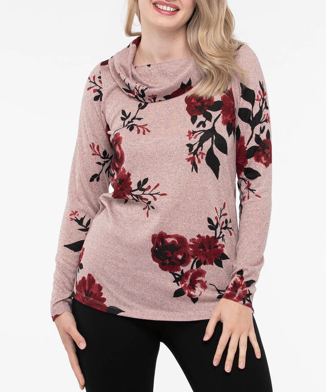 Cowl Neck Lightweight Knit Top, Soft Pink/Burgundy/Black, hi-res