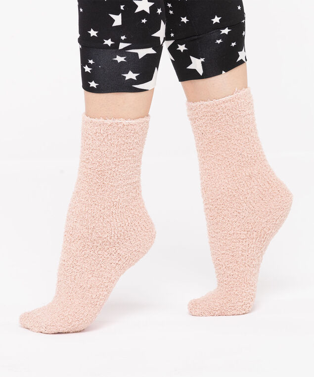 Solid Colour Plush Socks, Misty Rose