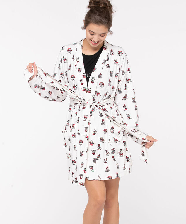Patterned Cozy Robe, White/Black/Red, hi-res