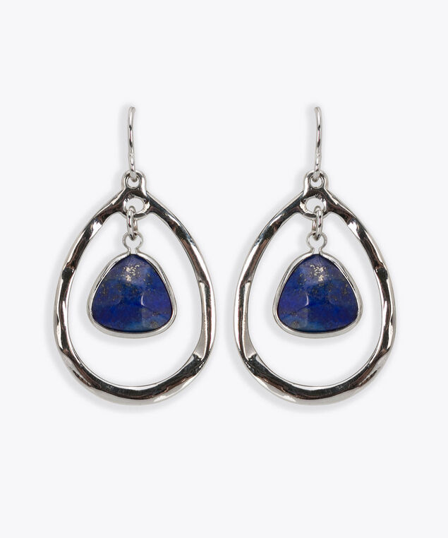 Faceted Stone Triangle Earring, Rhodium/Deep Sapphire, hi-res