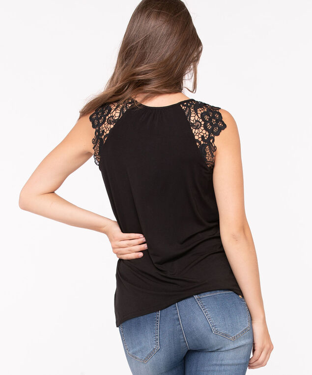 Crocheted Shoulder Sleeveless Top, Black, hi-res