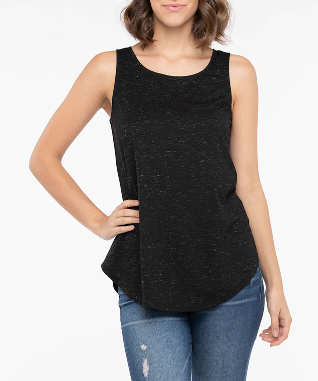 Lurex Sleeveless Scoop Neck Top, Black, hi-res