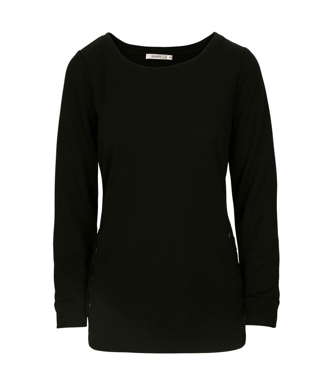 Long Sleeve Lace-Up Detail Pullover, Black, hi-res