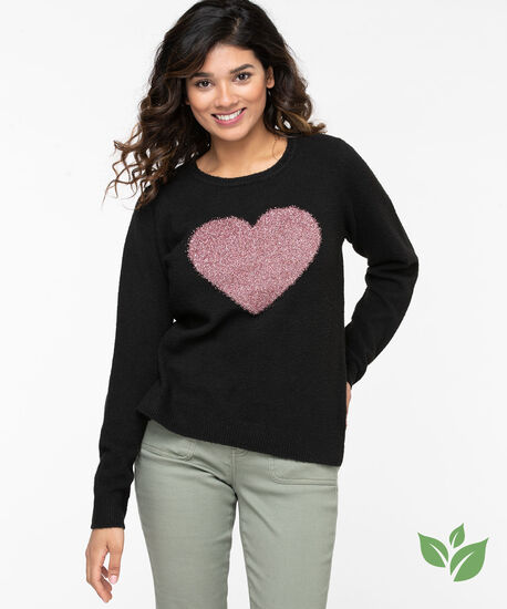 Eco-Friendly Metallic Heart Sweater, Black/Pink, hi-res