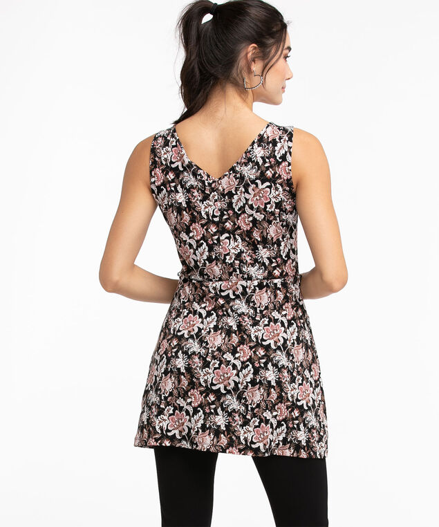 Eco-Friendly Tie-Waist Tunic Top, Black/Ivory/Brown/Pink Paisley