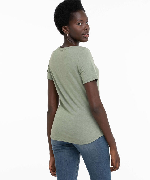 Scoop Neck Shirttail Graphic Tee, Laurel Wreath/Probably Late