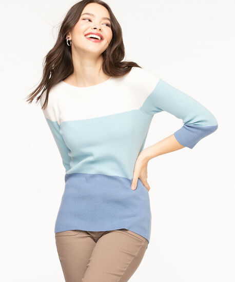 Boat Neck Colour Block Sweater, Marlin/Whisper White/Angel Blue, hi-res
