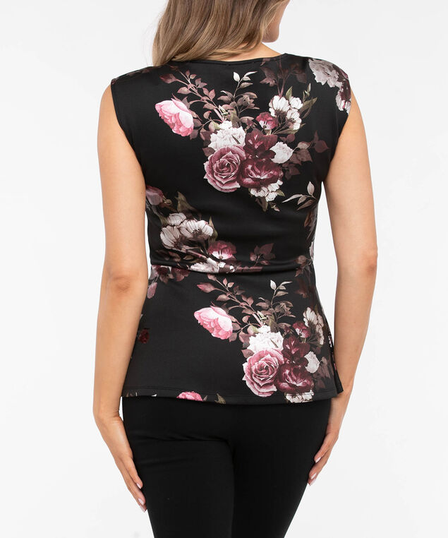 Sleeveless Floral Scuba Peplum Top, Black/Dusty Blush/Berry, hi-res
