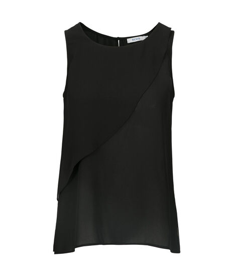 Tier Overlay Sleeveless Blouse, Black, hi-res