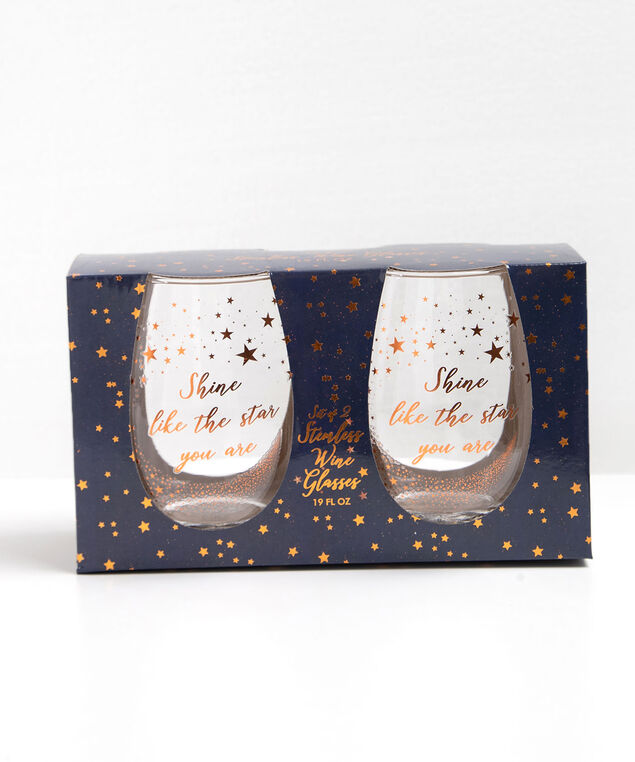 Stemless Wine Glass Set, Gold/Silver, hi-res
