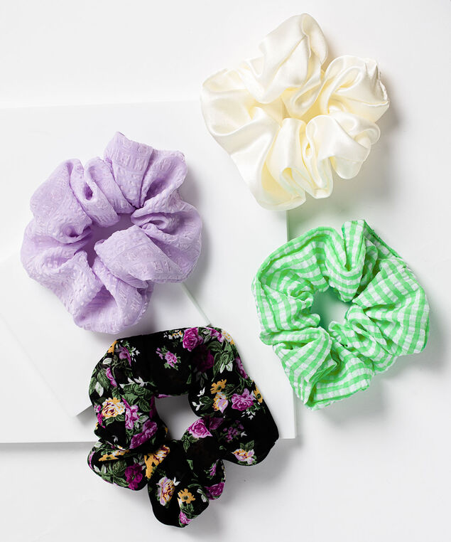 Hair Scrunchie 4-Pack, Whisper White/Orchid Petal/Green/Black