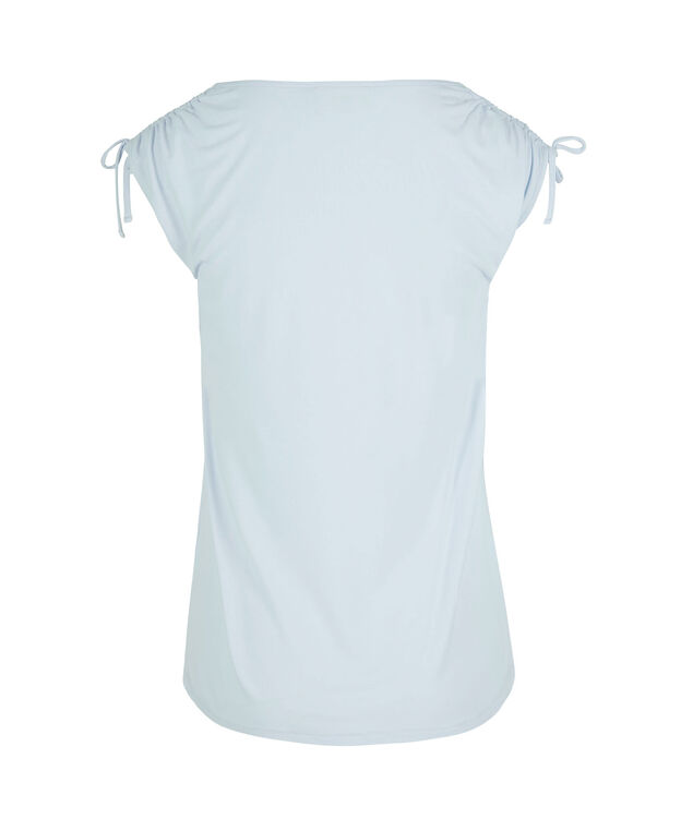 Tie Sleeve V-Neck Tee, Frosted Blue, hi-res