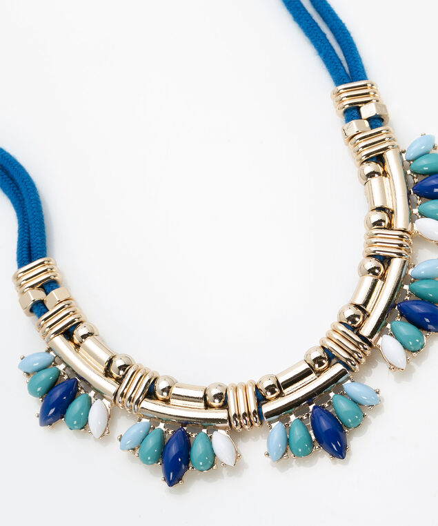 Gold Metal & Enamel Statement Necklace, Summer Navy/Pale Blue/Jade/Gold, hi-res