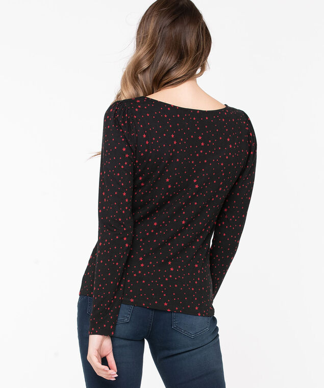 Puff Sleeve Scoop Neck Top, Black/Red Stars, hi-res