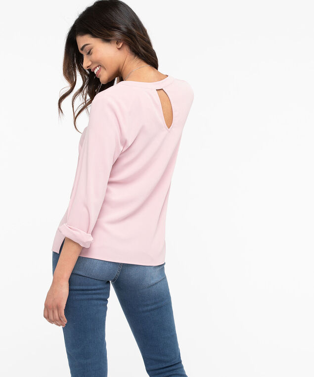 Long Sleeve V-Neck Blouse, Blush, hi-res