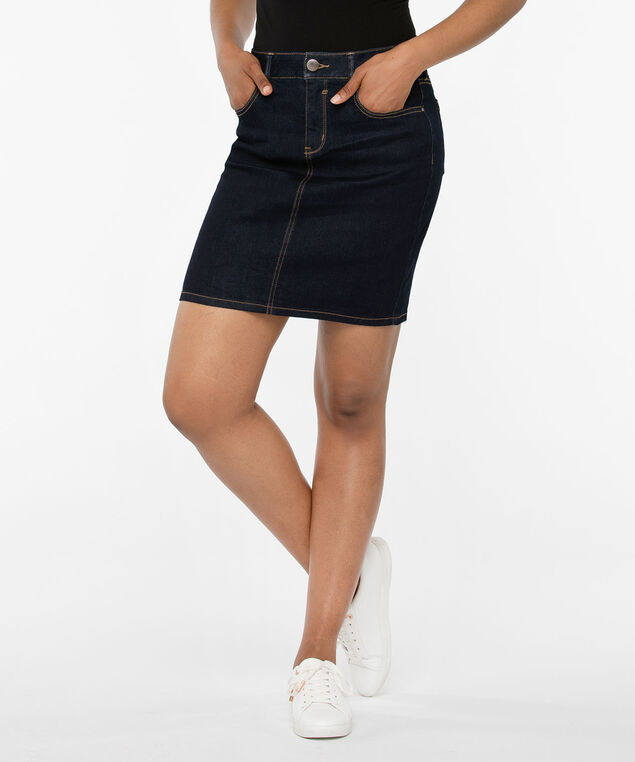 Dark Rinse Fly Front Jean Skirt, Dark Rinse, hi-res