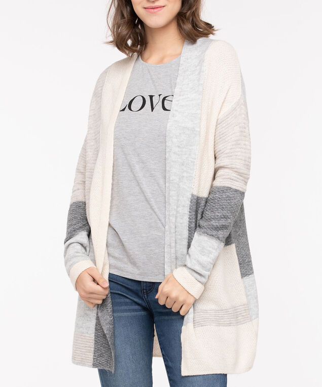 Textured Colourblock Open Cardigan, Light Heather Grey/Mid Heather Grey/Ecru, hi-res