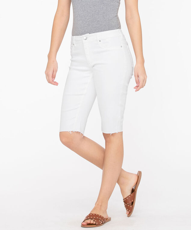 Frayed Hem Denim Bermuda Short, White, hi-res