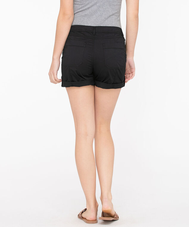 Roll Tab Poplin Short, Black, hi-res