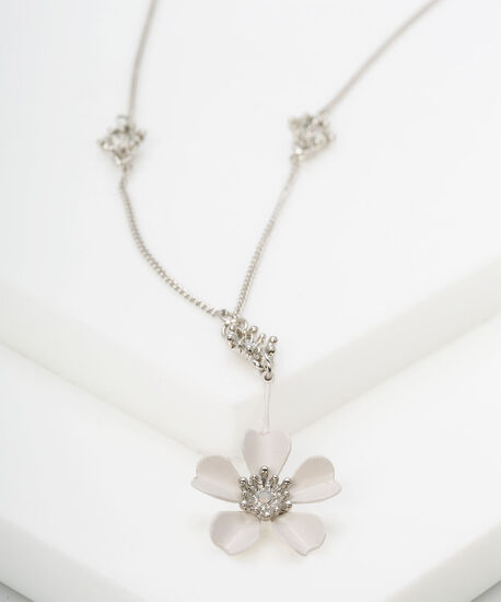 White Daisy Pendant Necklace, White, hi-res