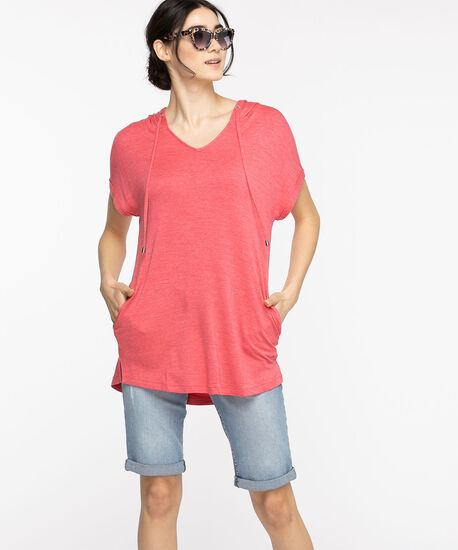 Short Sleeve Hooded Tunic Top, Rouge Red, hi-res