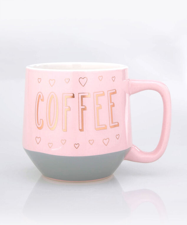 Coffee & Hearts Mug, Cameo Pink/Rose Gold, hi-res