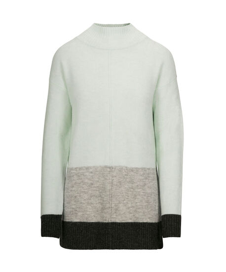 Plush Colour Block Pullover Sweater, Mint/Grey, hi-res