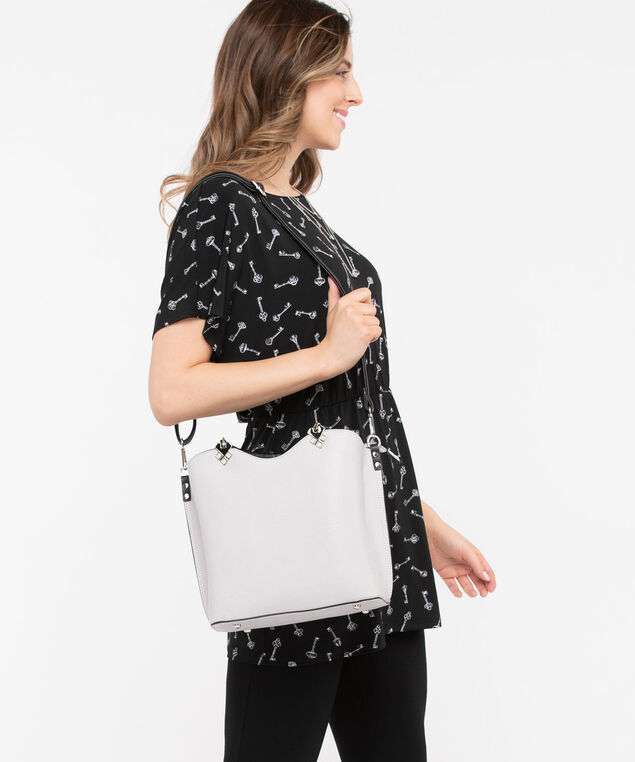 Structured Bucket Bag, Grey/Black, hi-res