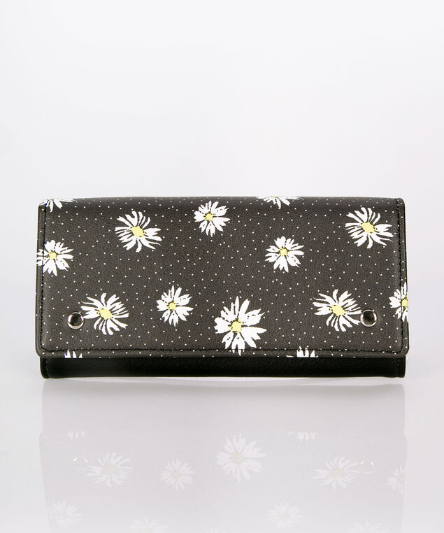 Daisy Flap Wallet, Black/White/Yellow, hi-res
