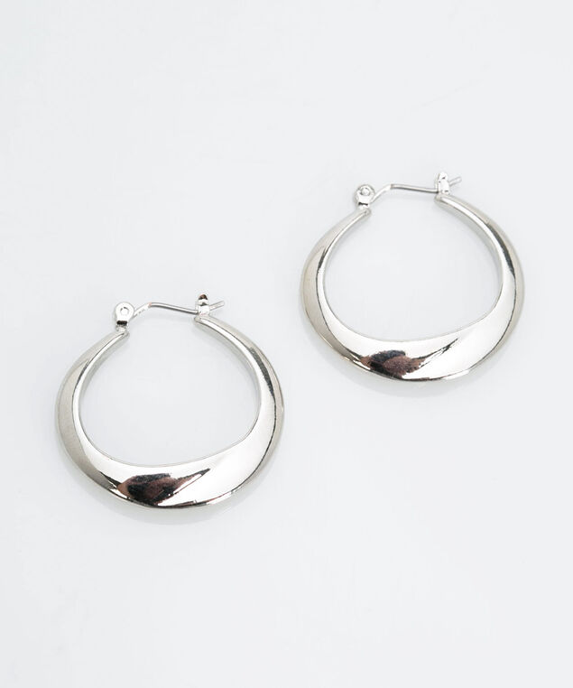 Metal Hoop Earring, Rhodium, hi-res