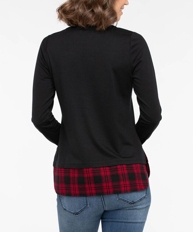 Long Sleeve Flannel Fooler Hem Top, Black/Crimson, hi-res
