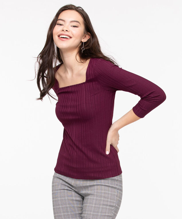 3/4 Sleeve Square Neck Top, Fig, hi-res