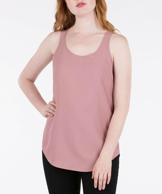 SCOOP NECK WOVEN LAYERING CAMI, Dusty Pink, hi-res