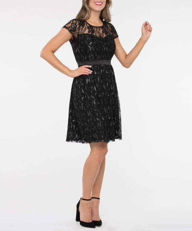 Lace Illusion Neck Fit & Flare Dress, Black/Silver, hi-res