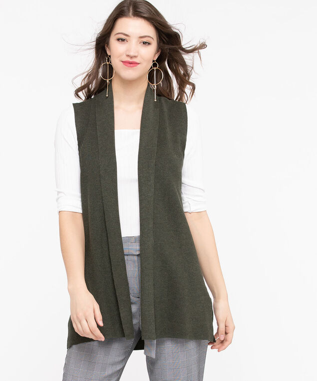 Shawl Collar Open Sweater Vest, Basil, hi-res