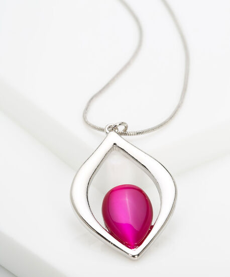 Leaf Shaped Cateye Statement Necklace, Rhodium/Bright Pink, hi-res