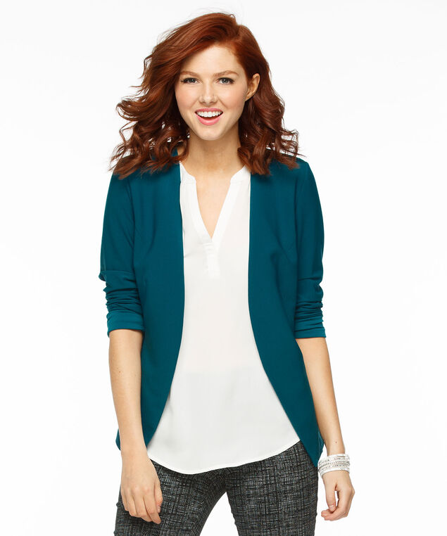Soft Crepe Open Blazer, Midnight Teal, hi-res