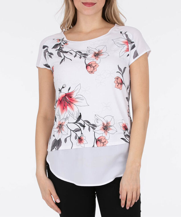 Chiffon Trim Fooler Top, White/Coral, hi-res